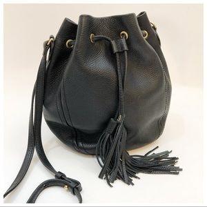 J Crew Black Pebbled Leather Tassel Bucket Bag